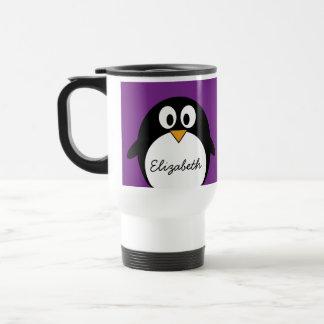 cute cartoon penguin purple stainless steel travel mug
