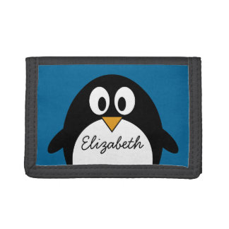 cute cartoon penguin with blue background trifold wallets
