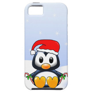 Cute Cartoon Penguin with Candy Canes Tough iPhone 5 Case
