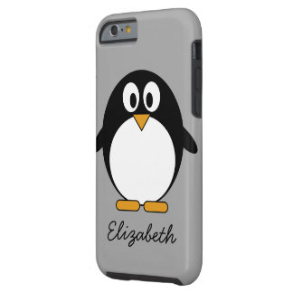 Cute cartoon penguin with gray background tough iPhone 6 case