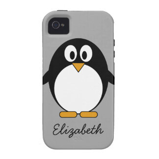 Cute cartoon penguin with gray background vibe iPhone 4 covers