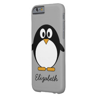 Cute cartoon penguin with grey background barely there iPhone 6 case
