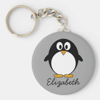 Cute cartoon penguin with grey background key ring
