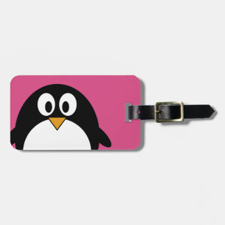 cute cartoon penguin with pink background bag tag