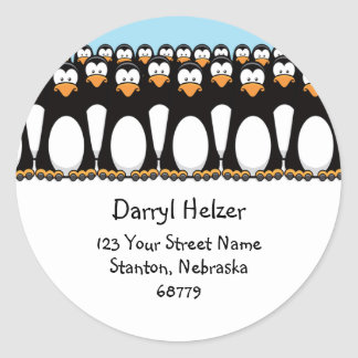 Cute Cartoon Penguins Fun Address Labels Round Sticker