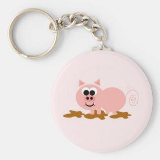 Cute Cartoon Pig Basic Round Button Key Ring