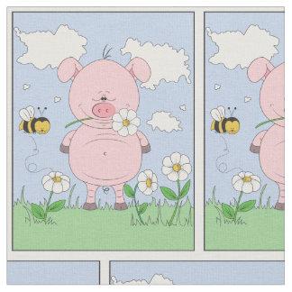 Cute Cartoon Pig Fabric