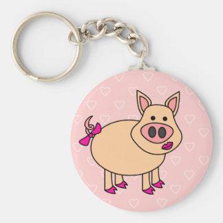 Cute Cartoon Pig Key Ring
