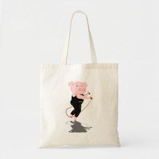 Cute Cartoon Pig Skipping Budget Tote Bag