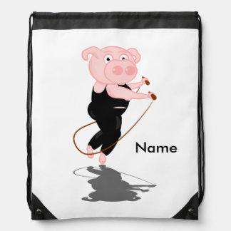 Cute Cartoon Pig Skipping Drawstring Bag