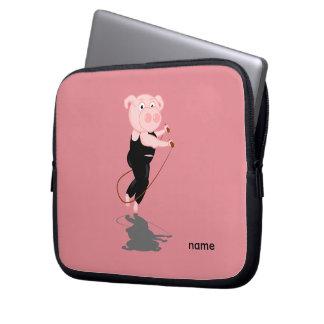 Cute Cartoon Pig Skipping Laptop Sleeves