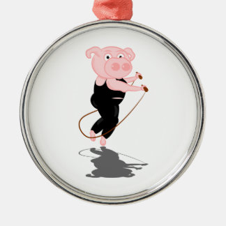 Cute Cartoon Pig Skipping Silver-Colored Round Decoration