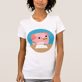 """Cute Cartoon Pig """"Writer's Block"""" Women T-Shirt"""
