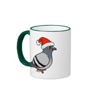 Cute Cartoon Pigeon Santa Ringer Mug
