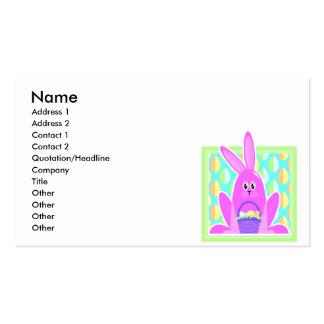 cute cartoon pink easter bunny business card template