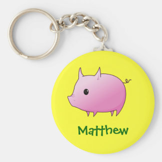 Cute Cartoon Pink Pig Personalized Name Gift Key Ring