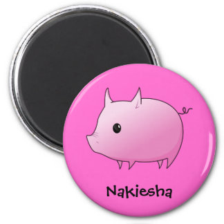 Cute Cartoon Pink Pig Personalized Name Gift Fridge Magnets