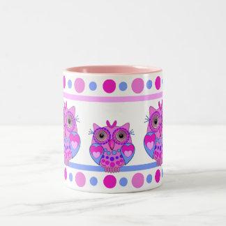 Cute cartoon polka dots and owls mug