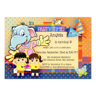 Cute Cartoon Polka Dots Kids Birthday Party Invite
