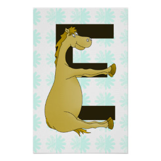 Cute Cartoon Pony Monogram E Poster