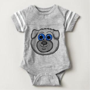 Cute Cartoon Pug Head Baby Bodysuit