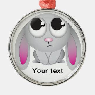 Cute Cartoon Rabbit Round Metal Christmas Ornament