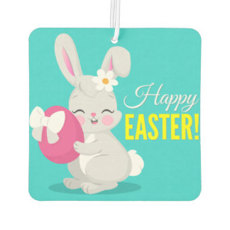 Cute cartoon rabbit girl hugging easter egg car air freshener