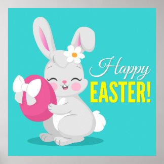 Cute cartoon rabbit girl hugging easter egg poster