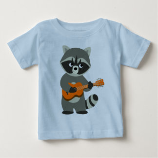 Cute Cartoon Raccoon Playing Guitar Baby T-Shirt