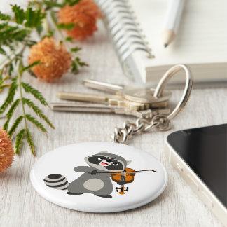 Cute Cartoon Raccoon Playing Violin Key Ring