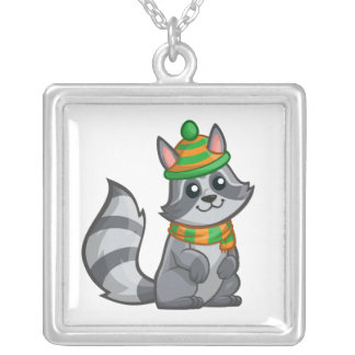 Cute Cartoon Raccoon Silver Plated Necklace