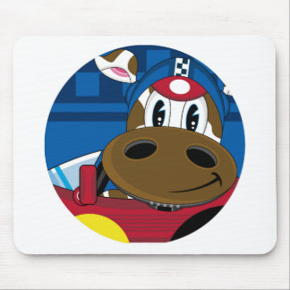 Cute Cartoon Racing Car Cow Mouse Pad