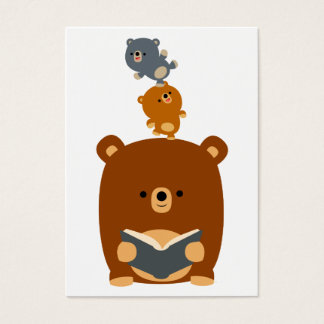 Cute Cartoon Reading Bear and Cubs Business Card