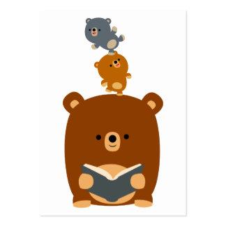 Cute Cartoon Reading Bear and Cubs Business Card