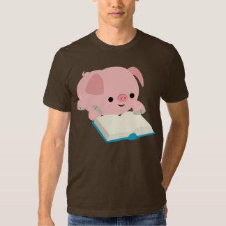 Cute Cartoon Reading Piglet T-Shirt