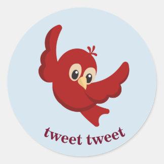 Cute Cartoon Red Bird Classic Round Sticker