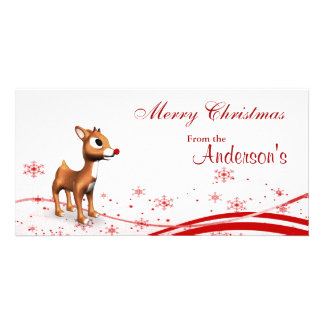 Cute Cartoon Reindeer Christmas Gift Tags Custom Photo Card