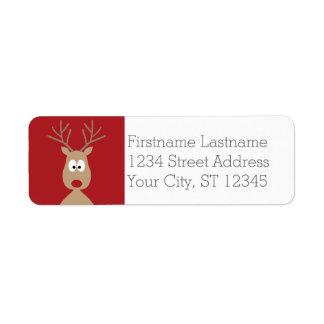Cute Cartoon Reindeer - Merry Christmas Greeting Return Address Label