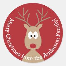 Cute Cartoon Reindeer - Merry Christmas Greeting Round Sticker