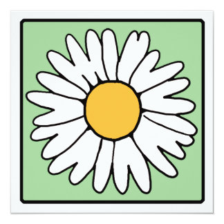 Cute Cartoon Retro Daisy Spring Garden Flower Invitation