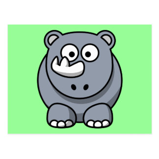 Cute Cartoon Rhino Postcard