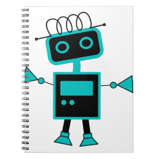 Cute Cartoon Robot made of Electronic symbols Notebook