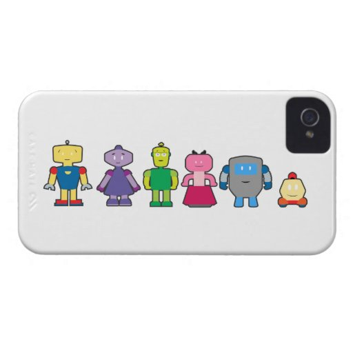 Cute Cartoon Robots Case-Mate iPhone 4 Case