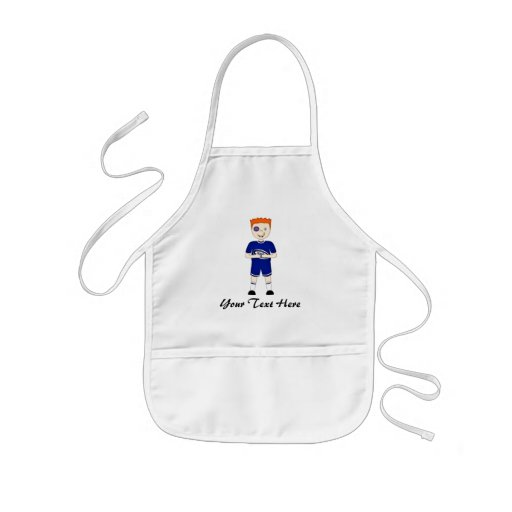 Cute Cartoon Rugby or Rugger Player in Blue Kit Apron