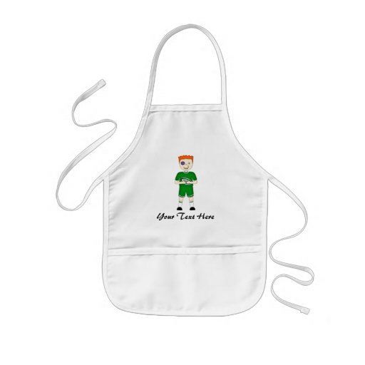 Cute Cartoon Rugby or Rugger Player in Green Kit Aprons