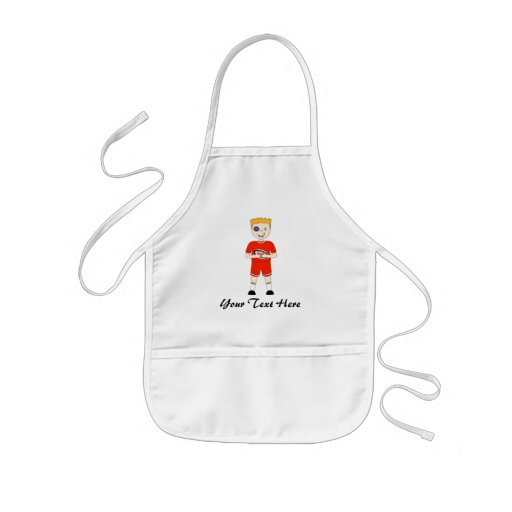 Cute Cartoon Rugby or Rugger Player in Red Kit Apron