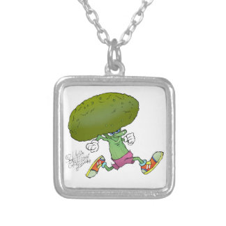 Cute cartoon running Broccoli, necklace. Silver Plated Necklace