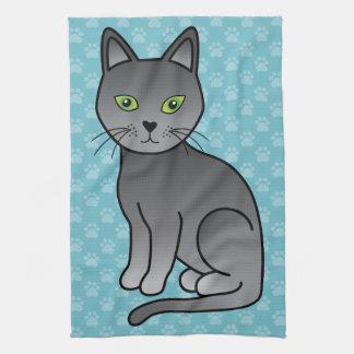 Cute Cartoon Russian Blue Cat Smiling Tea Towel