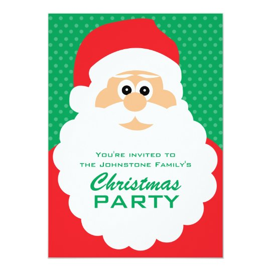 Cute Cartoon Santa Christmas Party Card