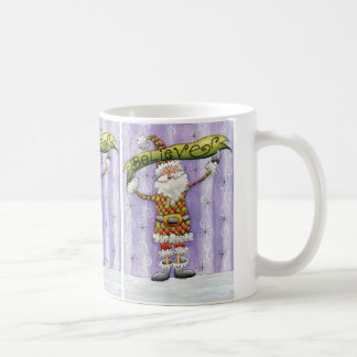 Cute Cartoon Santa Claus, Believe, Merry Christmas Basic White Mug